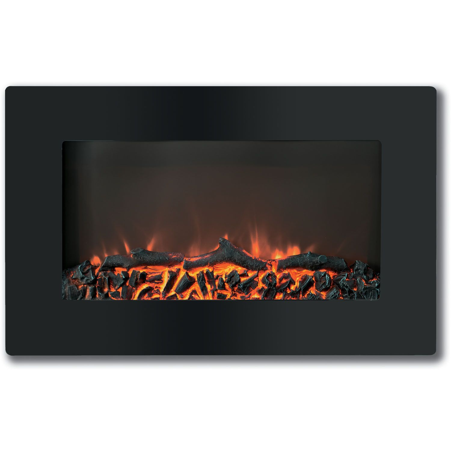 Cambridge CAM30WMEF-2BLK Callisto 30-inch Wall-mount Electronic Fireplace With Flat-panel and Realistic Logs
