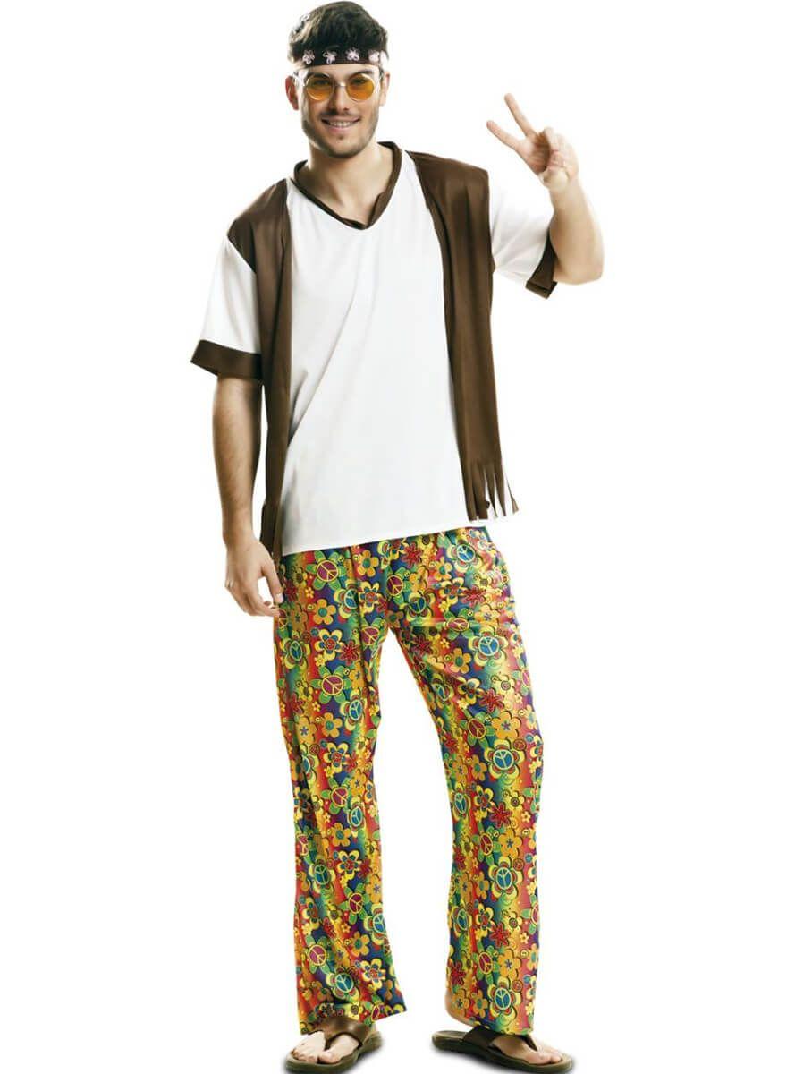 Disfraz de hippie de los 60 pacífico para hombre 0e12dc8ced98