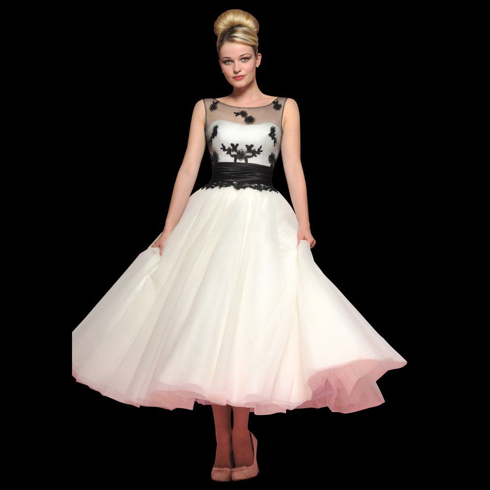 50's style black illusion lace white chiffon ankle length wedding ...