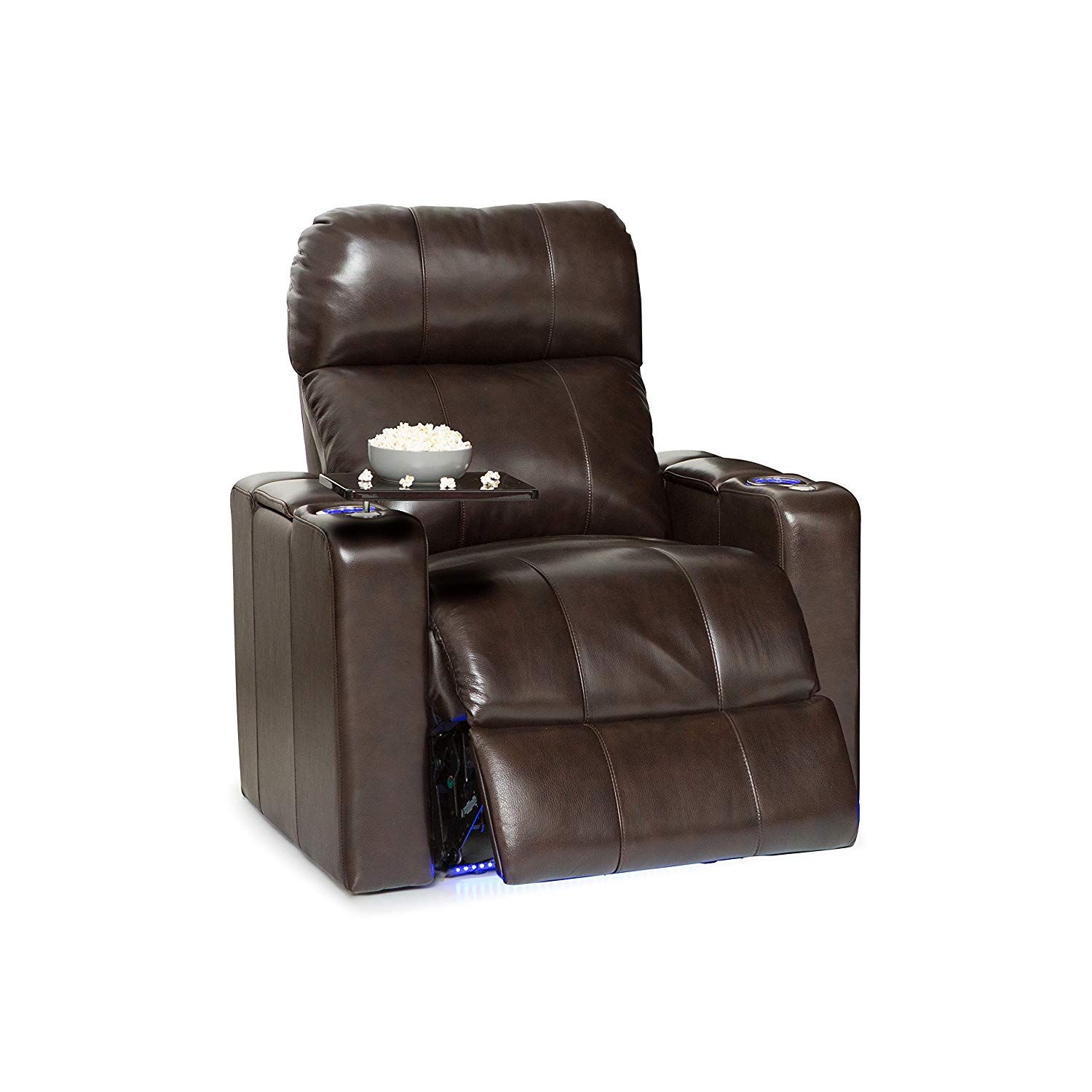 Seatcraft Monterey Leather Power Recliner With Adjustable Powered Headrest In Arm Storage And Usb Charging Brown Hom Home Theater Seating Headrest Recliner Recliner with cup holder and storage