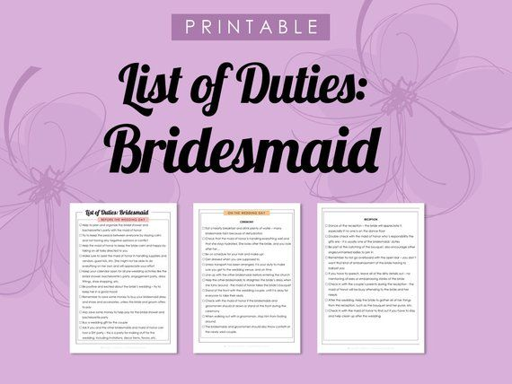 printable list of duties bridesmaid wedding planner to do list