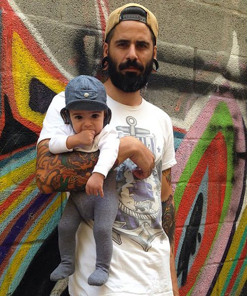 Awesome Tattooed Men With His Baby