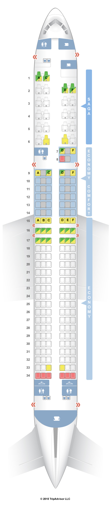 Seatguru Seat Map Icelandair Boeing 757 200 752 Seatguru Map Boeing