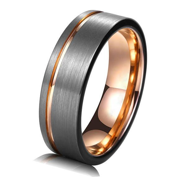 a7fb50b68282d Tungsten Ring Rose Gold Wedding Band Ring 8mm Tungsten Carbide 18K ...