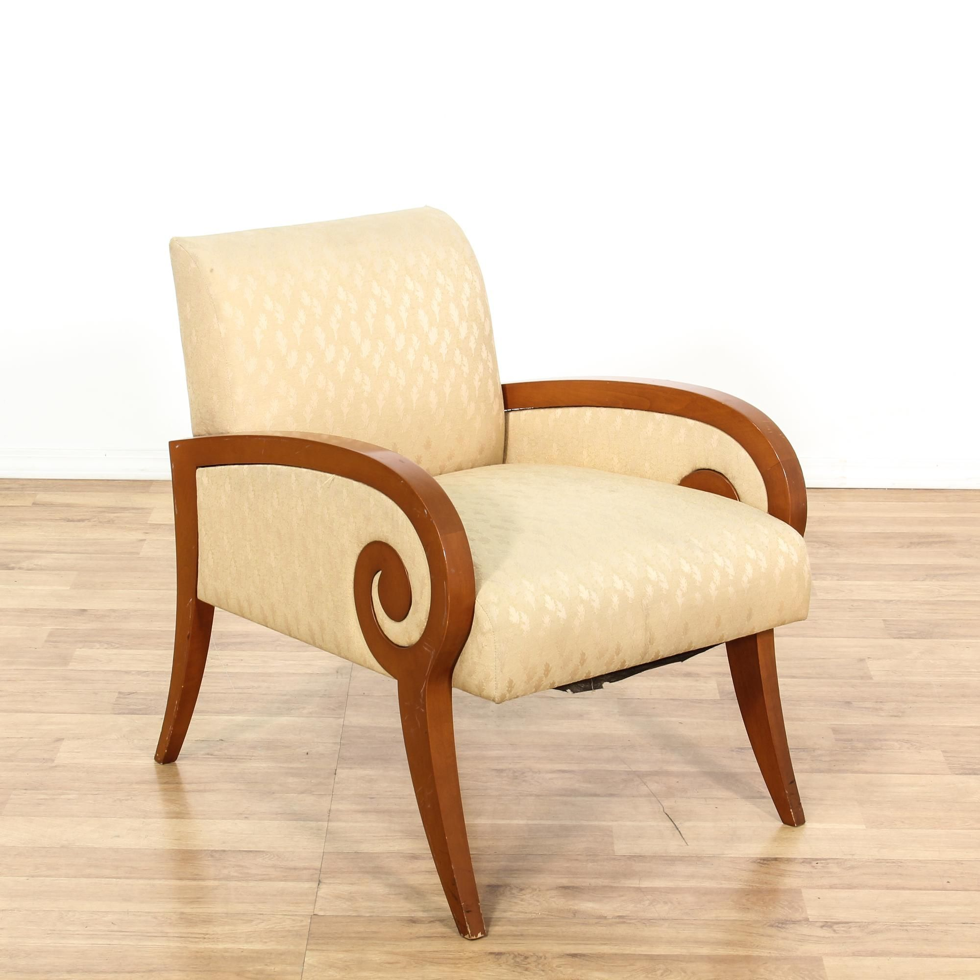 Best Beige Curved Scroll Arm Accent Chair Vintage Chairs Chair 400 x 300