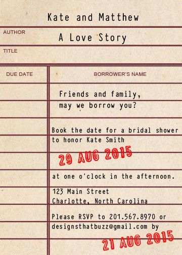 Custom Library Card Bridal Shower Invitation By Designsthatbuzz