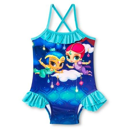 dbb79f2a1dba6 Shimmer and Shine Toddler Girls' 1-Piece Swimsuit - Blue | Shimmer ...