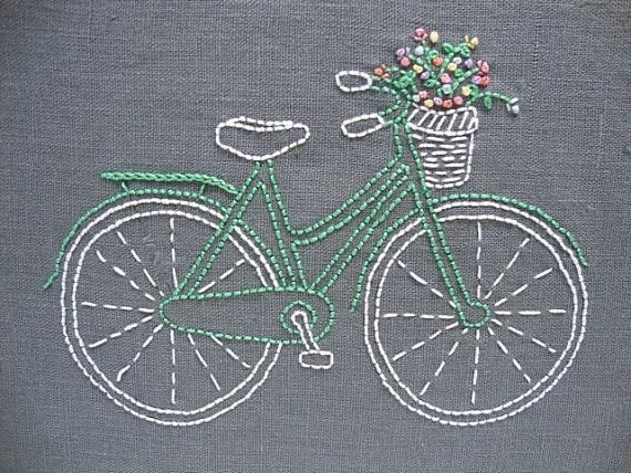 Vintage Bicycle Embroidery Kit by Sarah Milligan of iHeartStitchArt #vintage