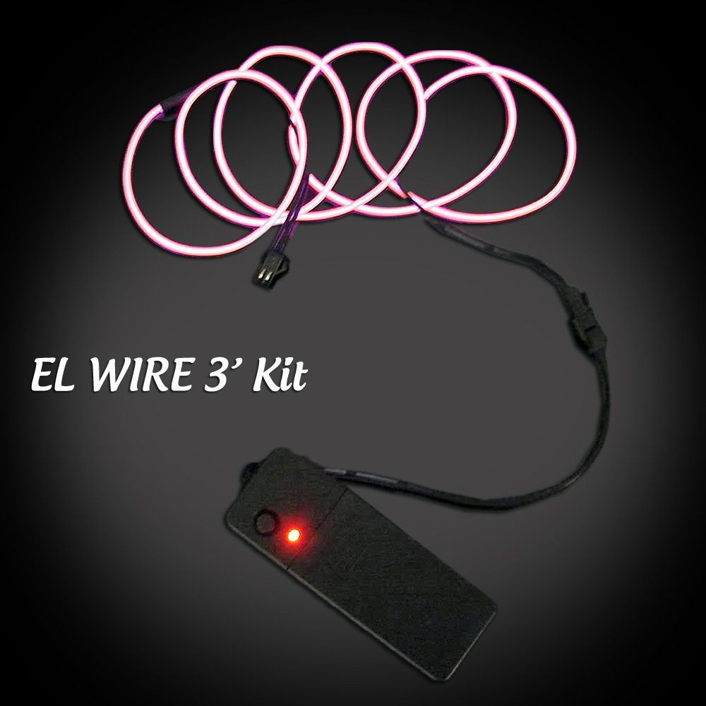 EL Wire Ready Kit - 3 ft wire plus battery pack