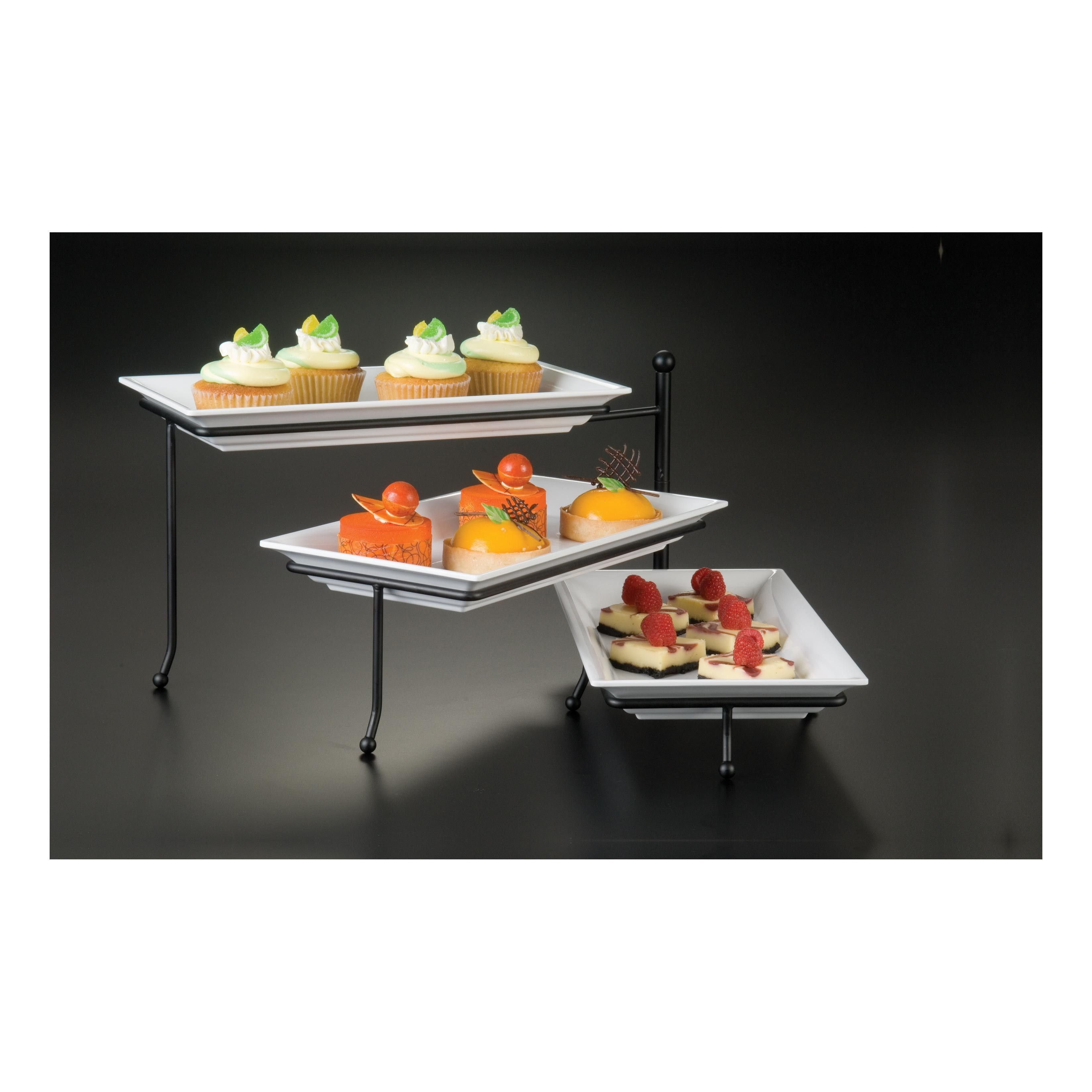 3 Tier Steel Display Stand W Platters Upscale Your Catering Or Buffet Service With The 3 Tier Wrought Iron Foldable Display Stand From American Metalcraft T