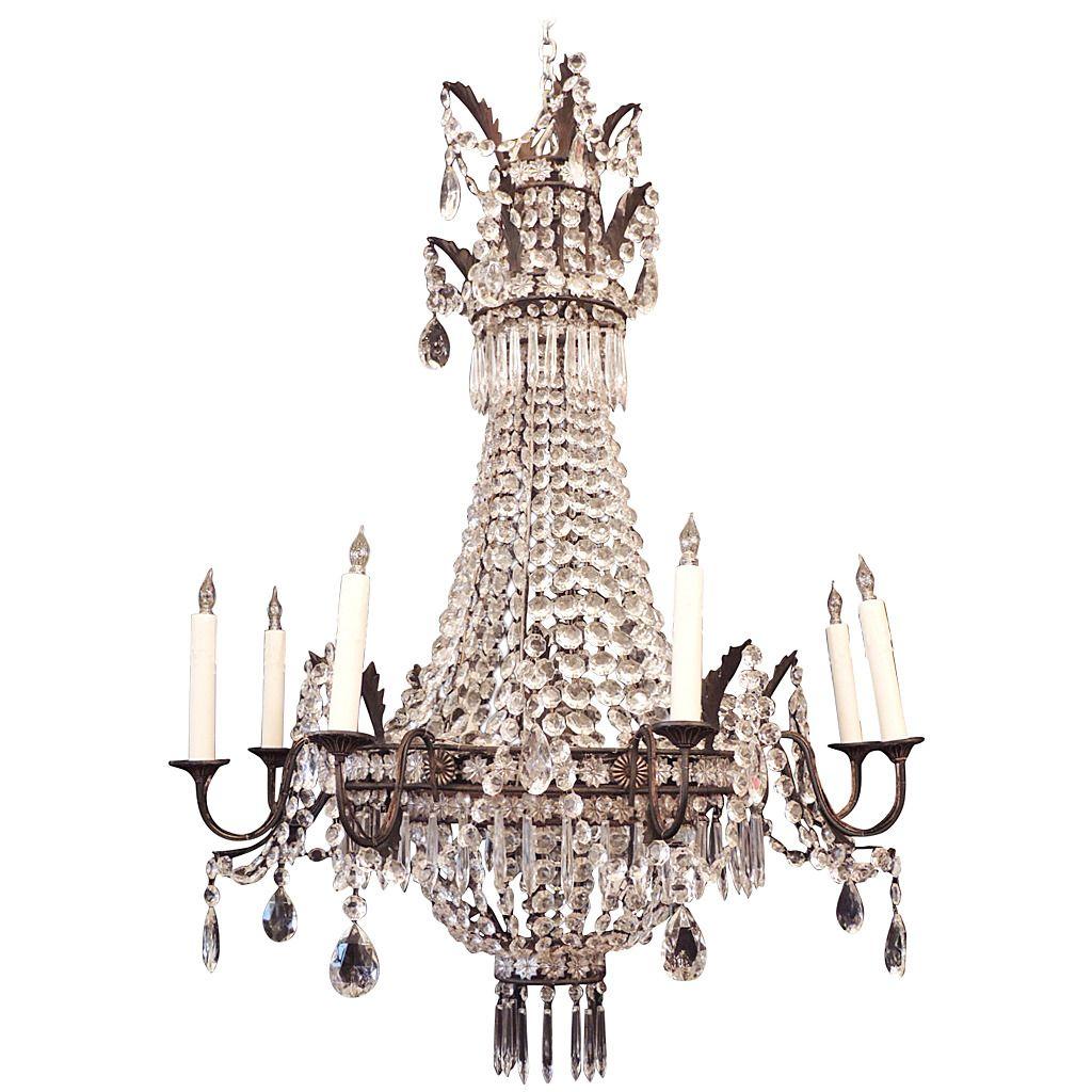 Large mid th c italian empire crystal chandelier italian empire