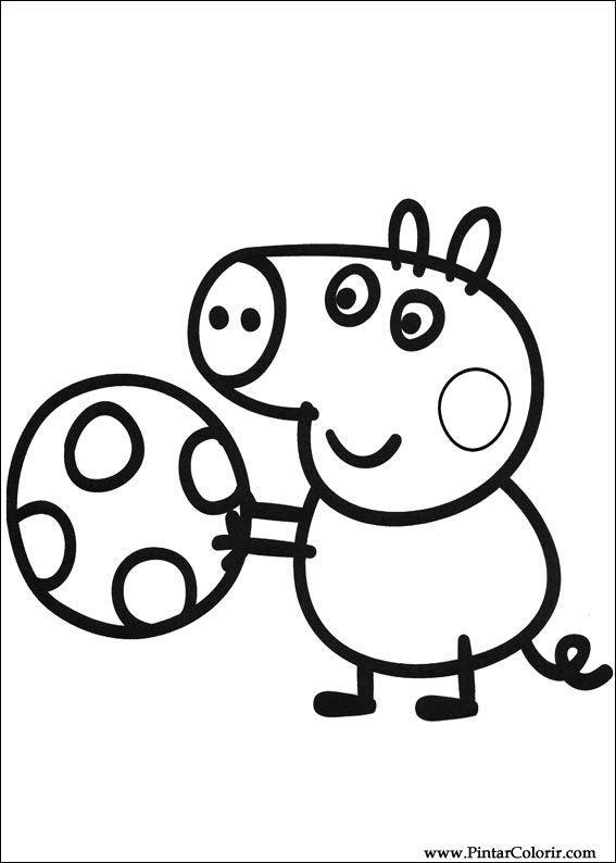 dibujos para pintar y color peppa pig diseño de impresión 003