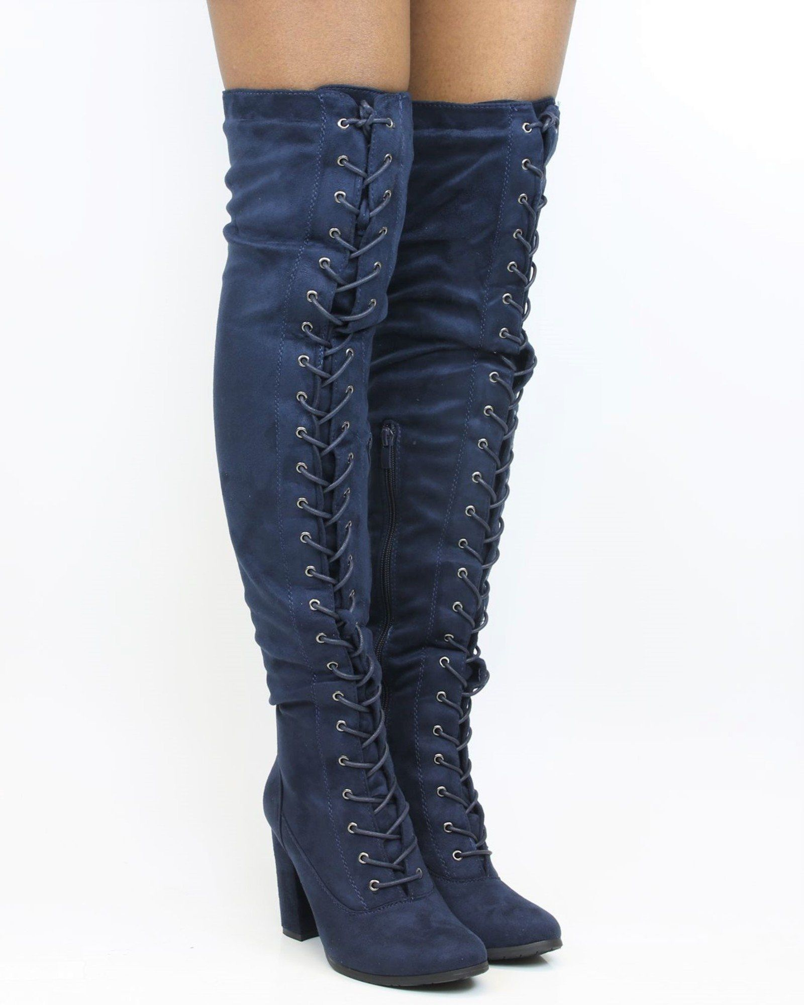 ca40a049804 Myra Lace Up Over The Knee Boot - Navy in 2019 | Products | Boots ...