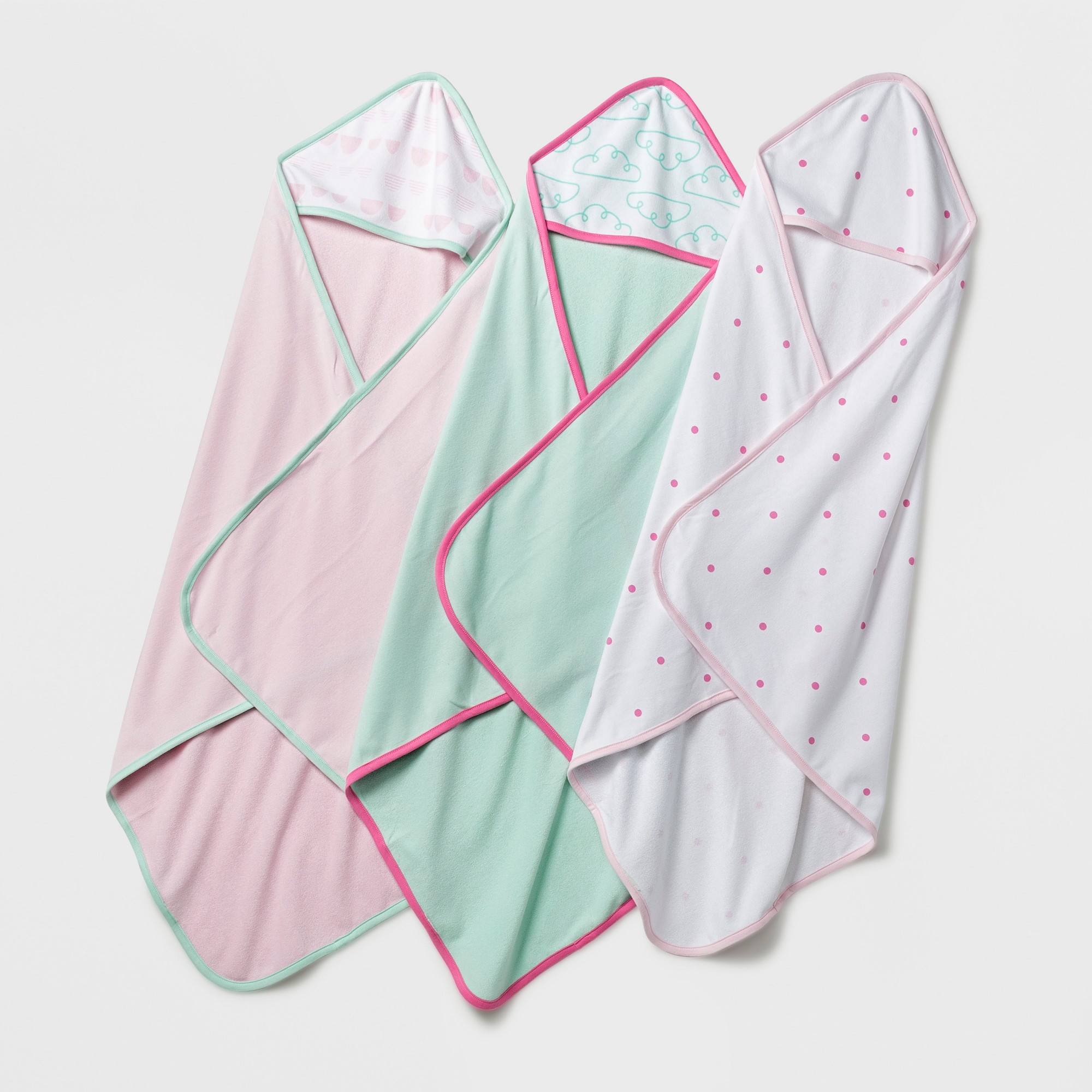 Baby Lightweight 3pk Hooded Towel Set Cloud Island Pink