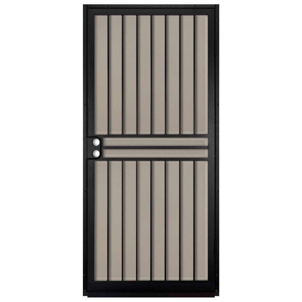 Unique Home Designs 36 In X 80 In Guardian Black Surface Mount Outswing Steel Security Door With Tan Perforated Aluminum Screen Idr10000362003 Protecciones De Puertas Puertas De Acero Puertas De Entrada Aluminio
