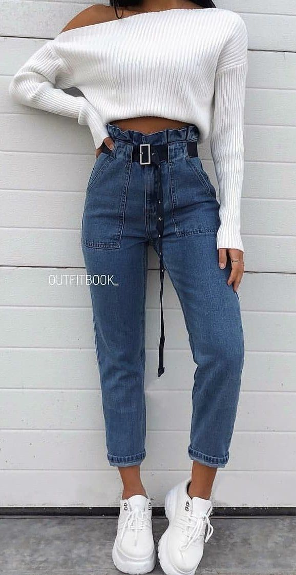 177a574a75 white knit sweater and blue denim jeans #summer #outfits | fashion ...