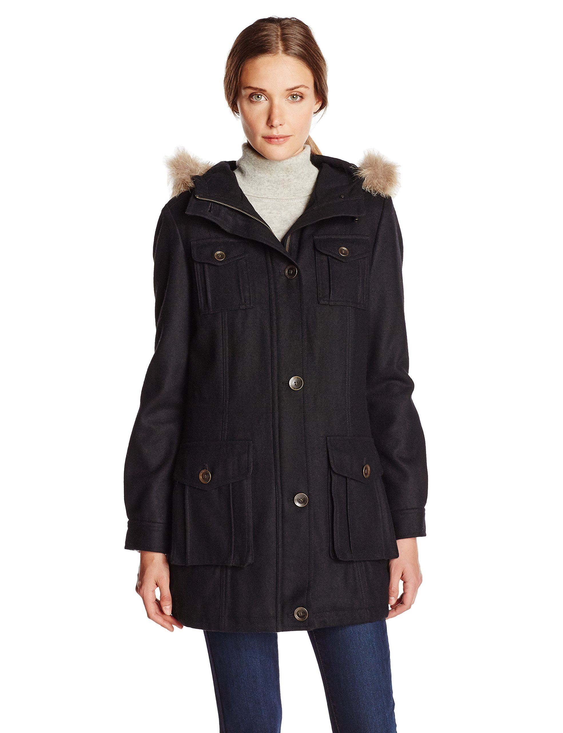Marc New York by Andrew Marc Women's Aviator Wool Coat with Fur Trim Hood, Black, 2