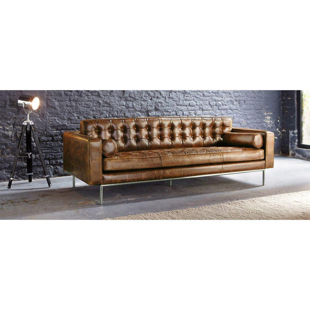 Gestepptes 3 Sitzer Sofa Aus Leder Braun Mikado Maisons Du Monde Button Sofa Living Room Sofa Design Leather Sofa