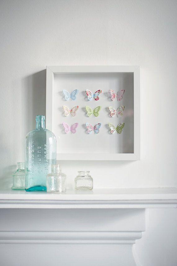 Beautiful handmade box frame picture with 3d butterflies | Pinterest ...
