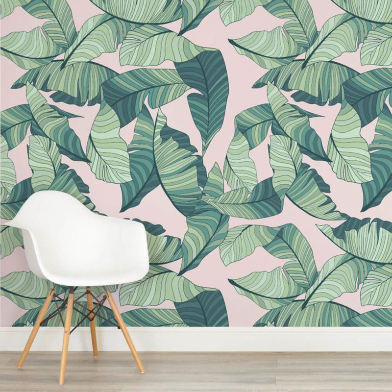 Sun Kissed Jungle Leaves Mural Funky Home Decor Green