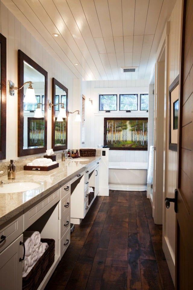 Dark Wood Bathroom Floor Storage In 2020 Dark Wood Bathroom Rustic Wood Floors Wood Tile Bathroom