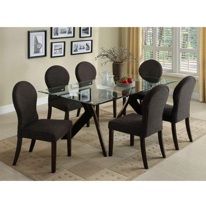 Interesting glass top dining table base black chair large glass table grey carpet with amazing flower