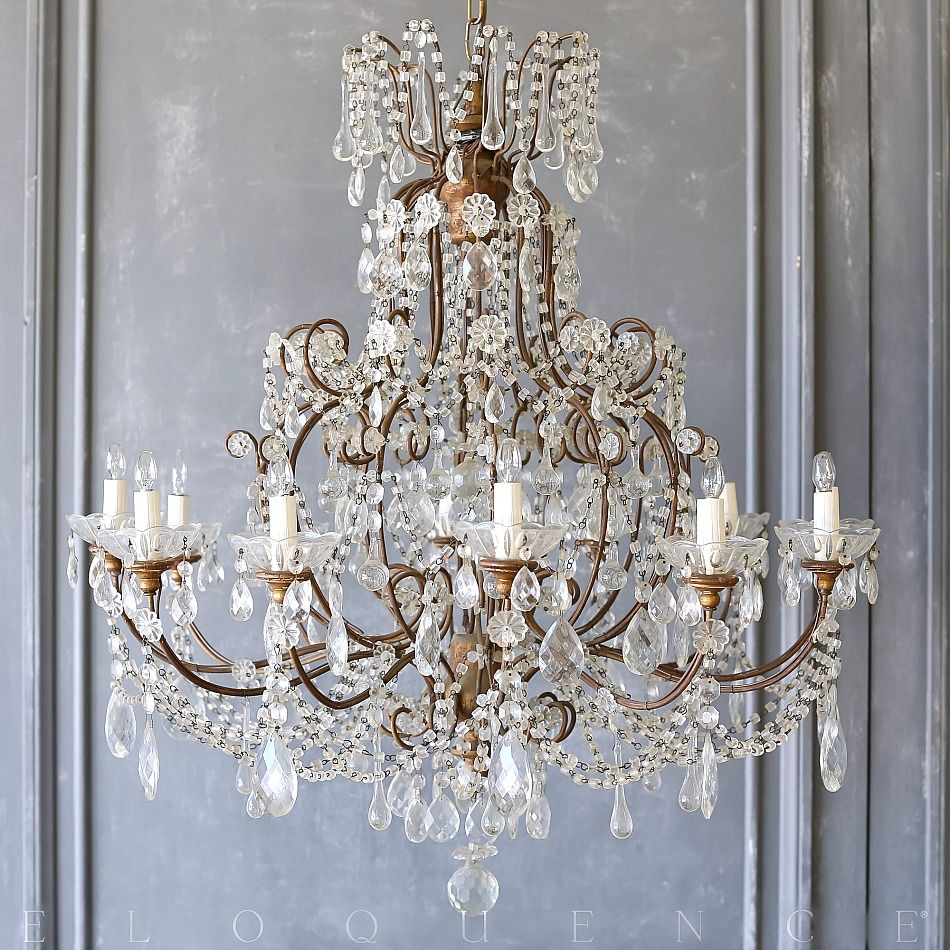 Pearlsandblackcoffee Via Antique 1890 S Large Crystal 12 Arm Chandelier Macaroni Beaded Beaded Chandelier Chandelier Antique Chandelier