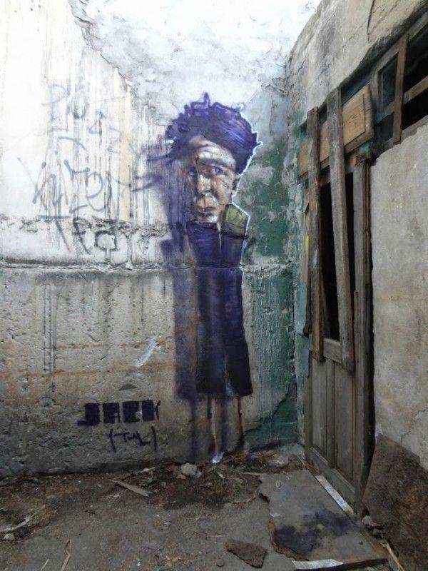 Street art in Tel Aviv, Israel by Israeli street artist Jack Tml