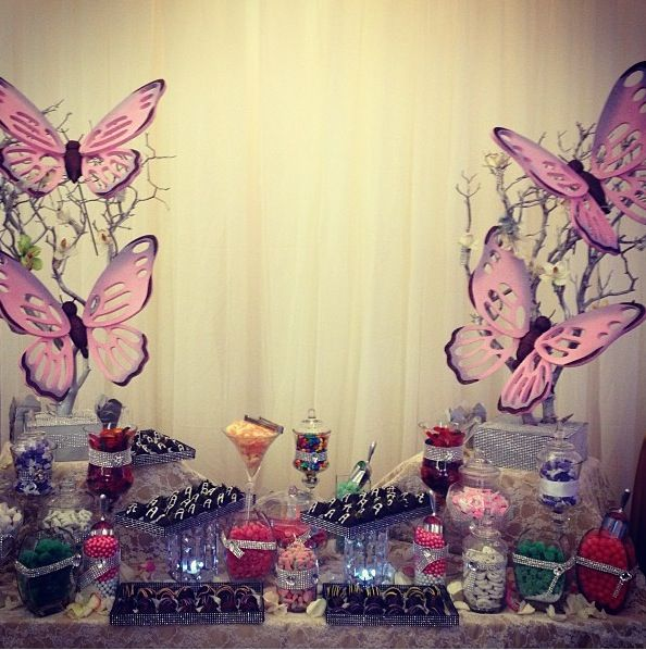 Butterfly Candy Table For Events Butterfly Theme Wedding Candy Table Butterfly Birthday