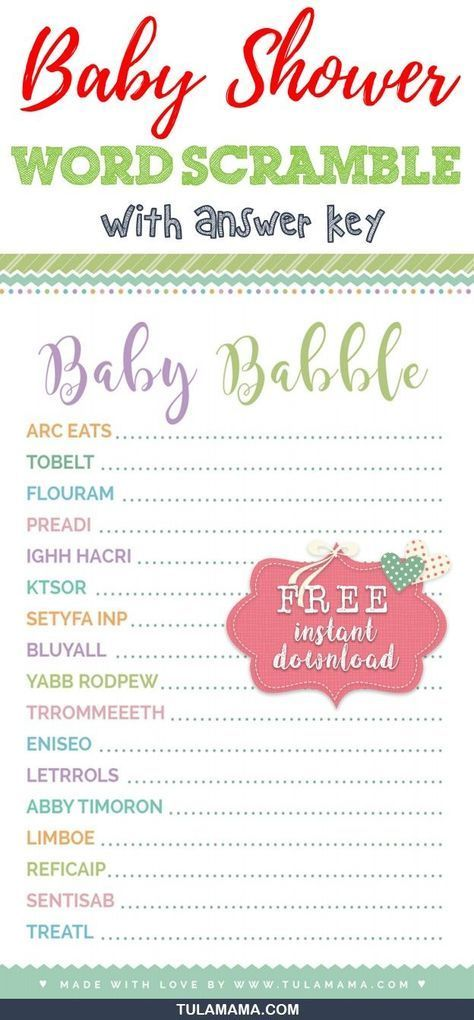 Free Cute Baby Shower Word Scramble Baby Shower Ideas