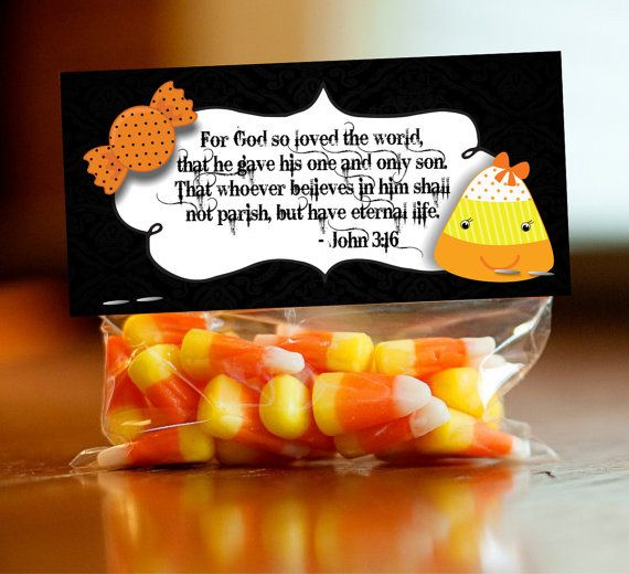 Halloween Treat Bag Topper Label Tag Christian by FoundItCards ...