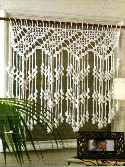 hermosa cortina tejida al crochet muy original | Cortinas