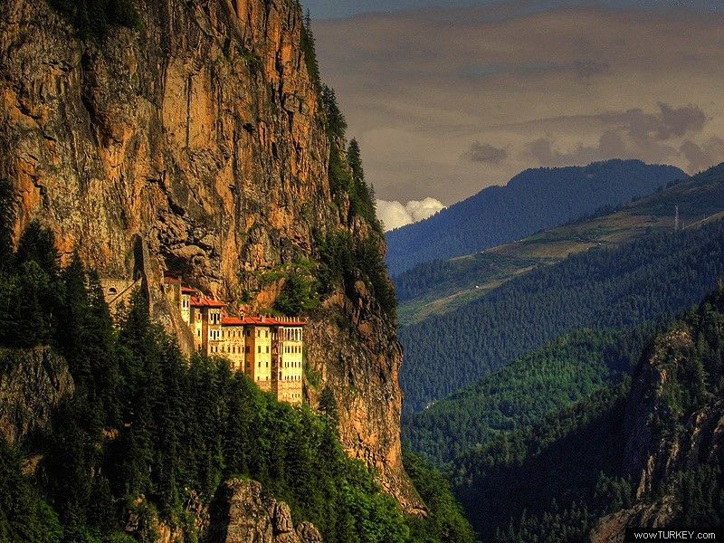 sumela monastery • Trabzon, Turkey • Turkish government now funding restoration work and the monastery enjoying a revival in pilgrimage from Greece and Russia (photo by -Nesrin- @ wowturkey)