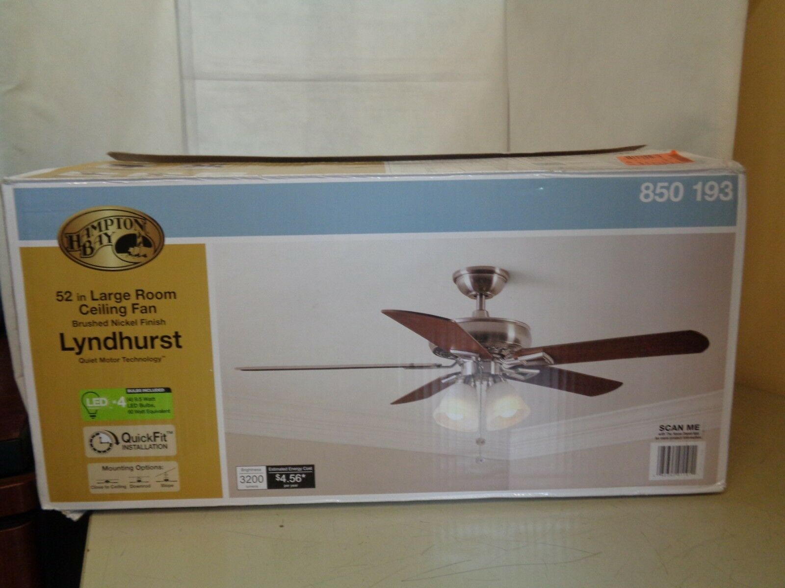 New Hampton Bay 850 193 850193 52 Large Room Ceiling Fan Brushed Nickel Finish Ceiling Fans Ide Ceiling Fan Ceiling Fans Without Lights Bottle Opener Wall