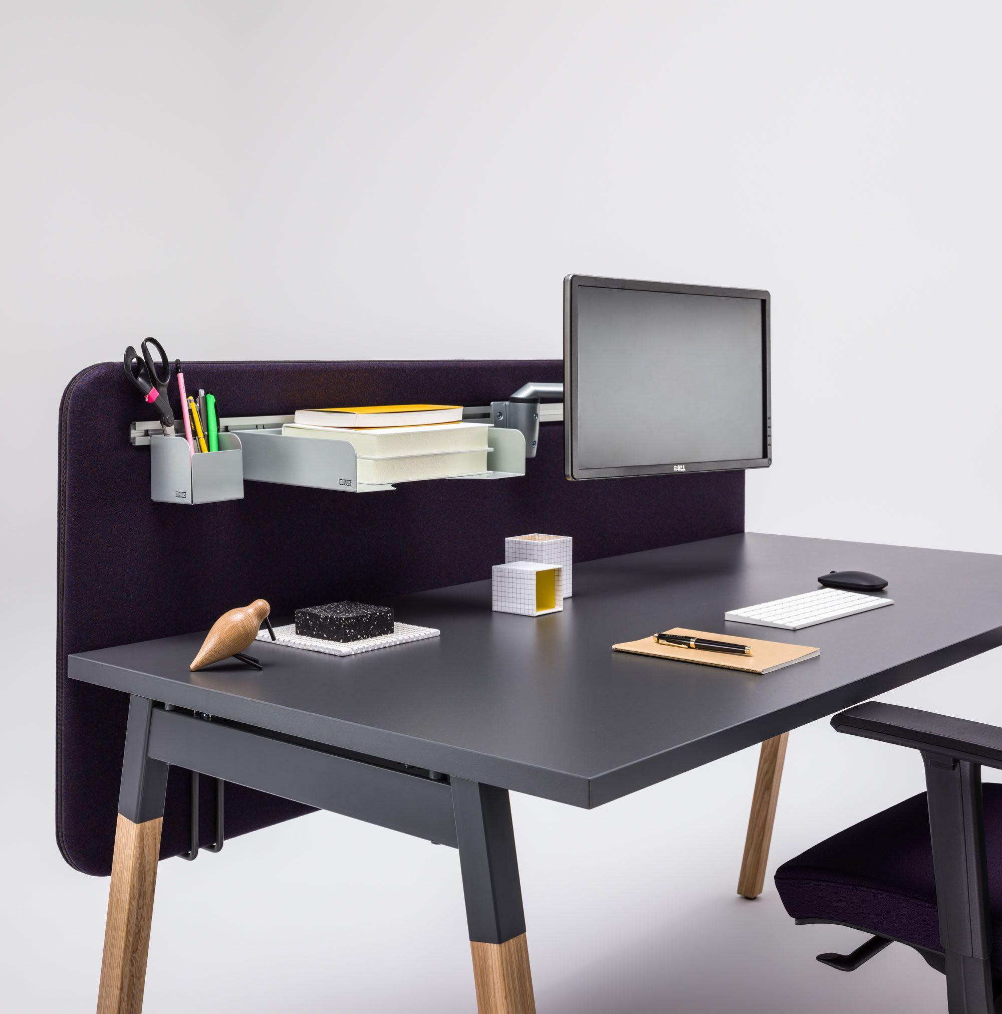 Alpha Black Wood Desk For 2 People