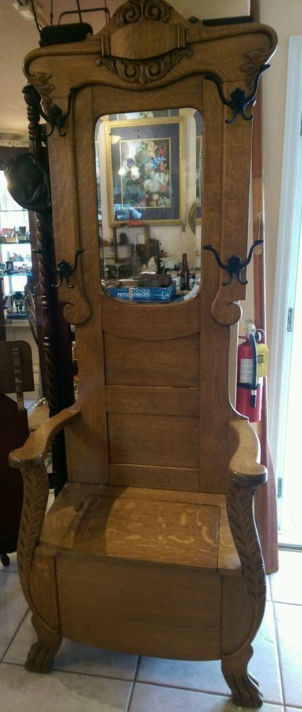 1900 1910 Prob Larkin Mirrored Oak Hat Coat Rack Hall Seat Bench Tree Stand Antique Hall Tree Venetian Mirrors Home Decor