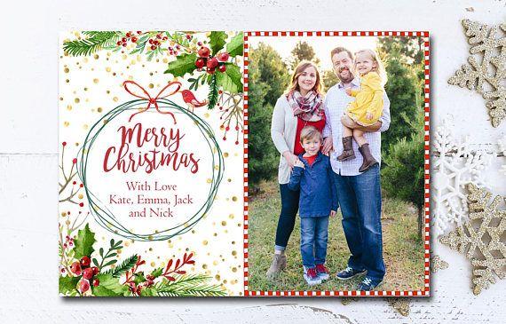 Merry Christmas Christmas Card Template Christmas Card Etsy In 2020 Digital Christmas Cards Christmas Card Template Holiday Card Template