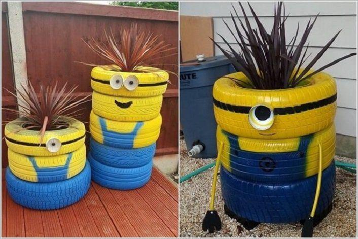 Decorar tu casa con minions ruedas recicladas con - Casas con ruedas ...