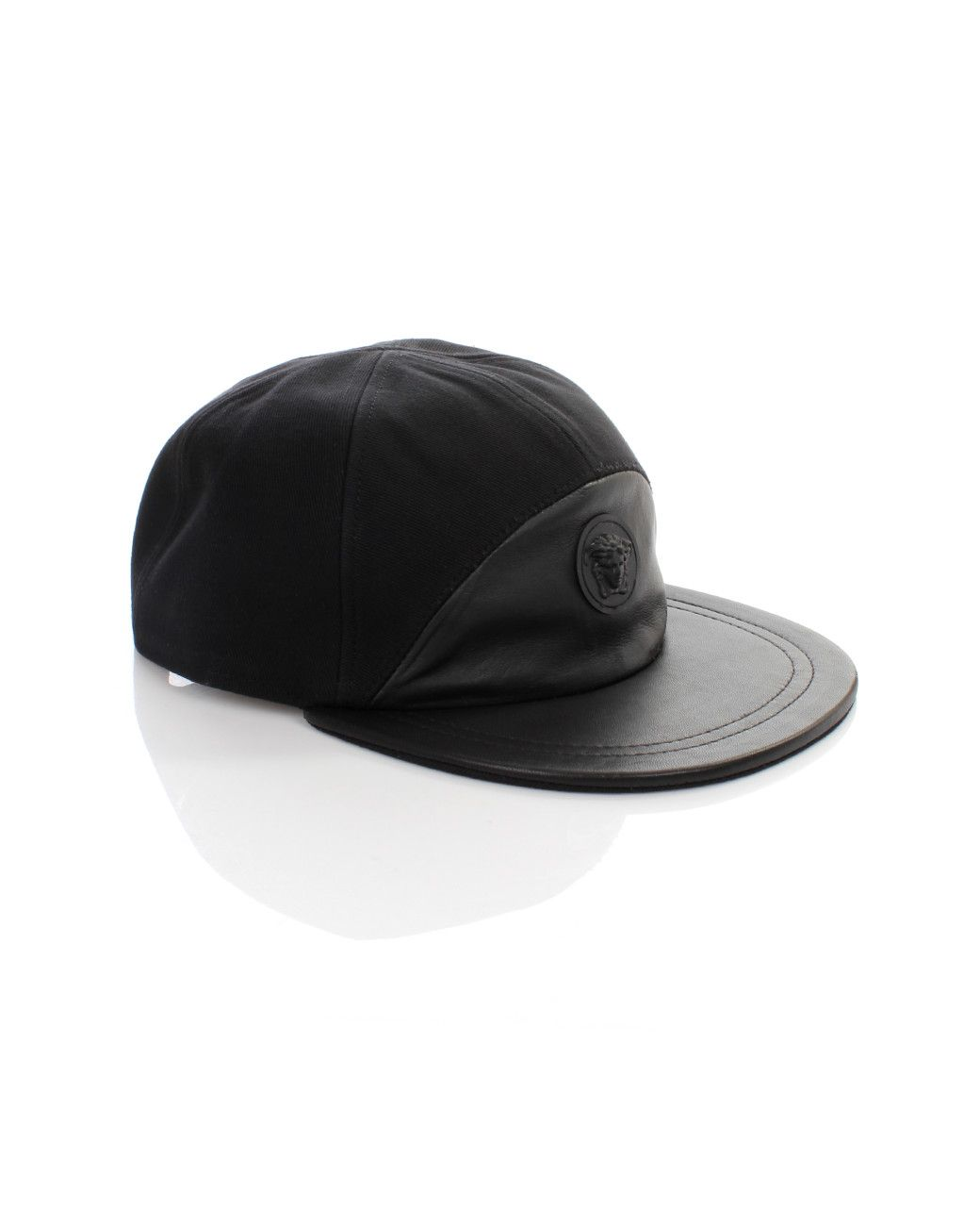 7f81eab7545 Men s Black Medusa Logo Half Leather Cap Nero