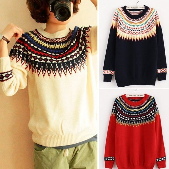 Tops Round Neck Pullover women knitted Sweater Outwear Jumper Knitwear new