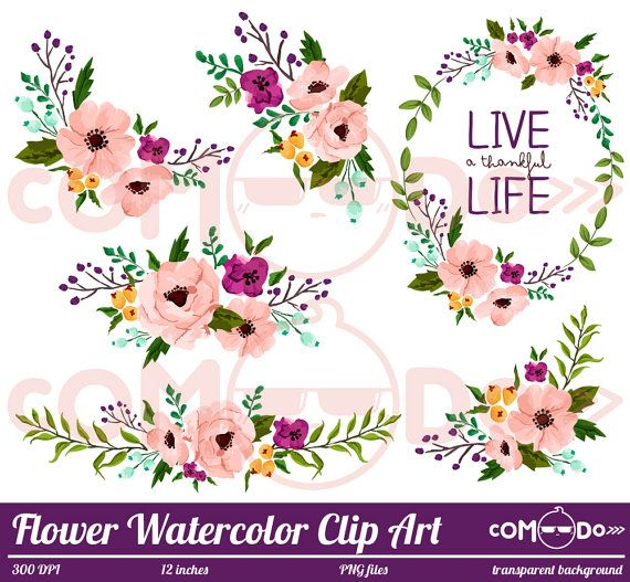 Pink Flower Wreath Clipart Flower Clipart Flower Arrangement