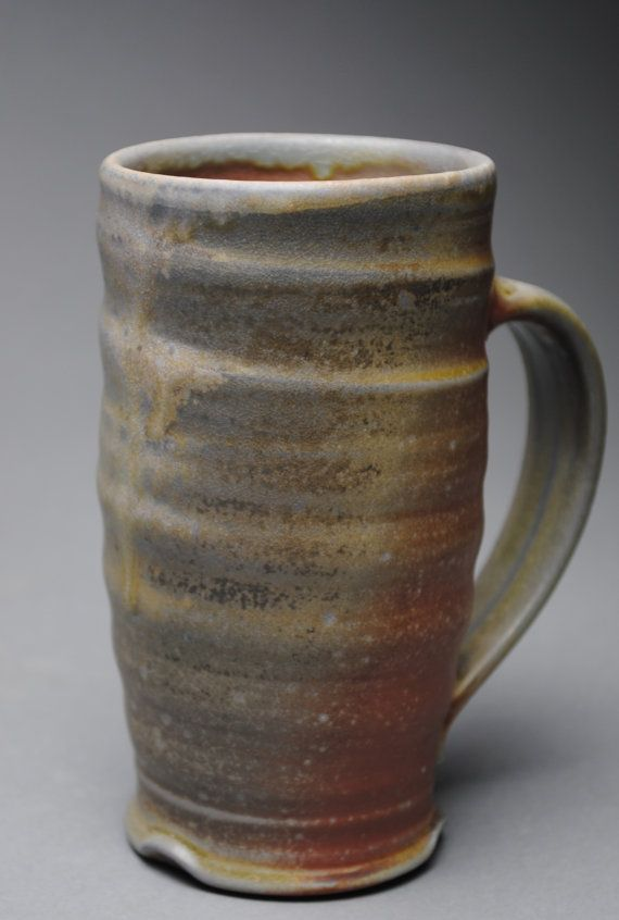 Clay Coffee Mug Beer Stein Wood Fired K42 by JohnMcCoyPottery. www.etsy.com/shop/JohnMcCoyPottery