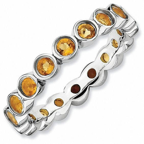 Zales Stackable Expressions Bezel-Set Small Citrine Eternity Style Ring in Sterling Silver BrsL6