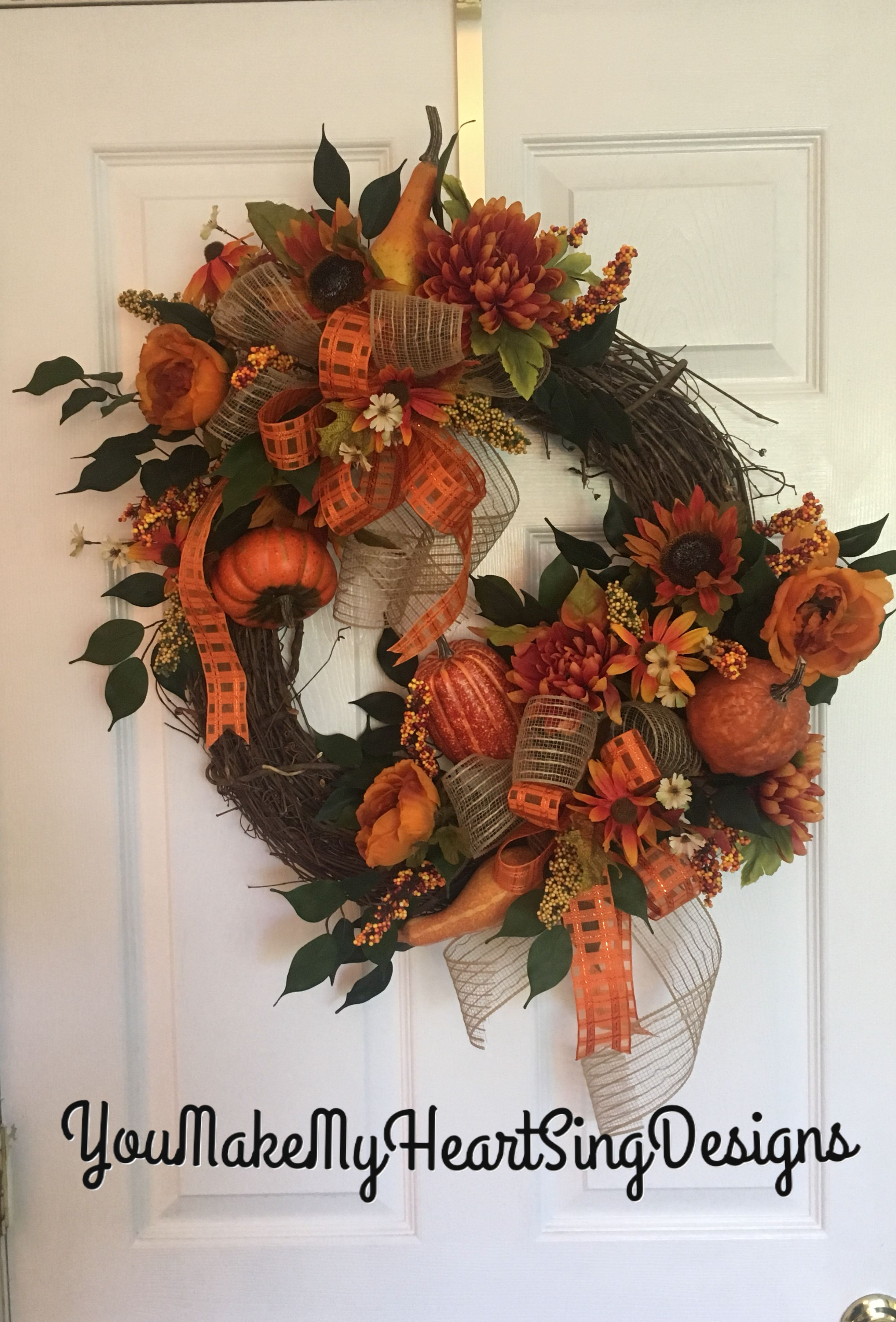 Fall Grapevine Wreath Pumpkins And Gourds Front Door Orange