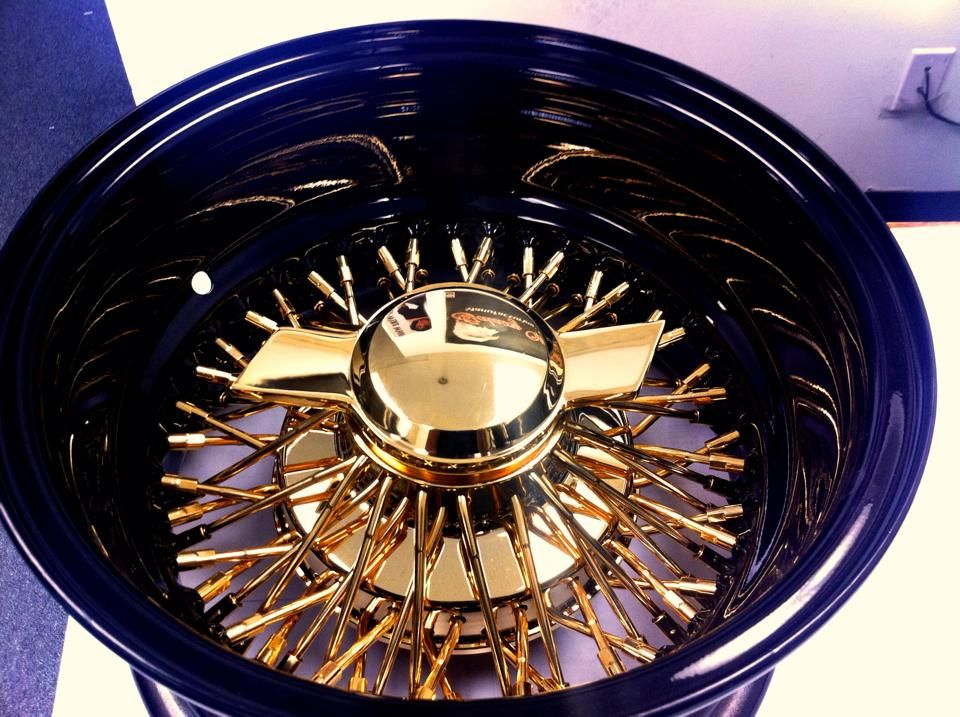 13x7 Reverse 72 Spokes Cross Laced Wire Wheels With Black Dish And Gold Center Wire Wheel Rims And Tires Rims