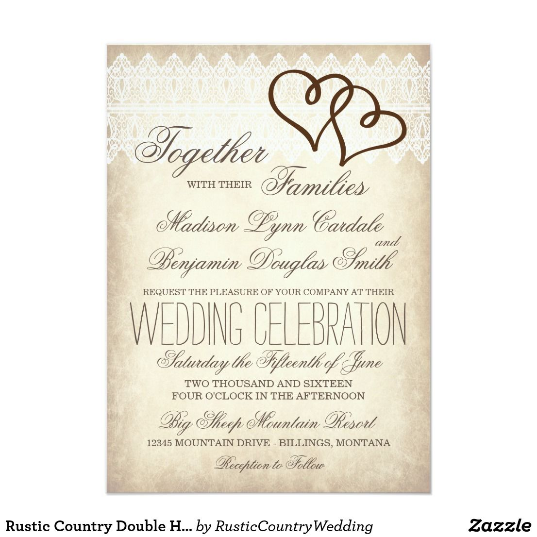 Rustic Country Double Hearts Wedding Invitations Zazzle Com