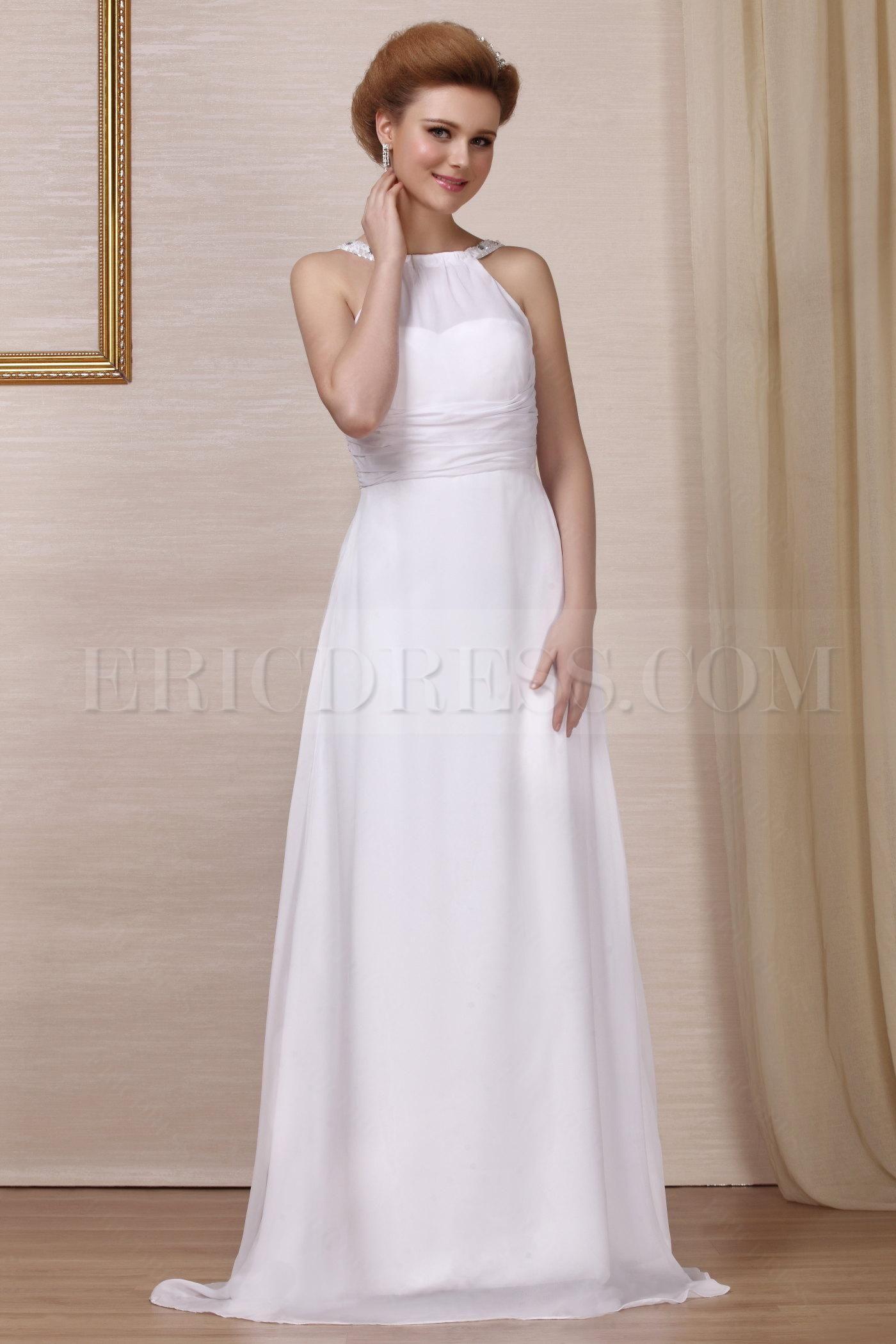 Beach wedding party dresses  Simple HighNeck Aline Floorlength Beach Wedding Dresses  lace