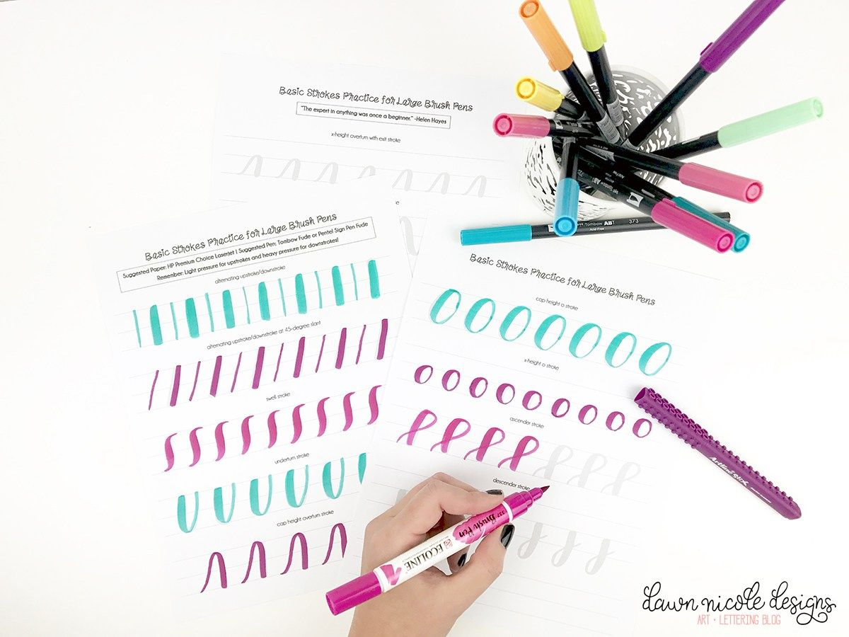 Basic Strokes Worksheets For Large Brush Pens With Images