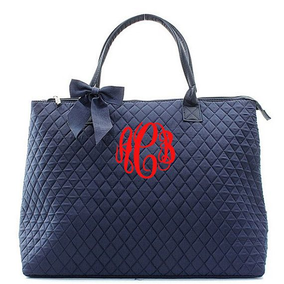 Monogram Quilted Tote Bag Large Personalized by fourbugsinarug ... : quilted monogrammed tote bags - Adamdwight.com
