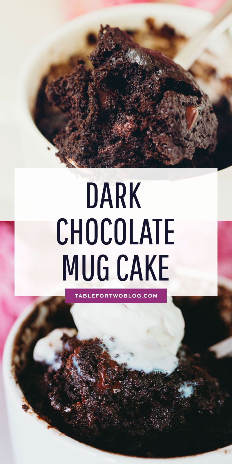 Dark Chocolate Mug Cake - Mug Cake for One or Two - No Eggs!